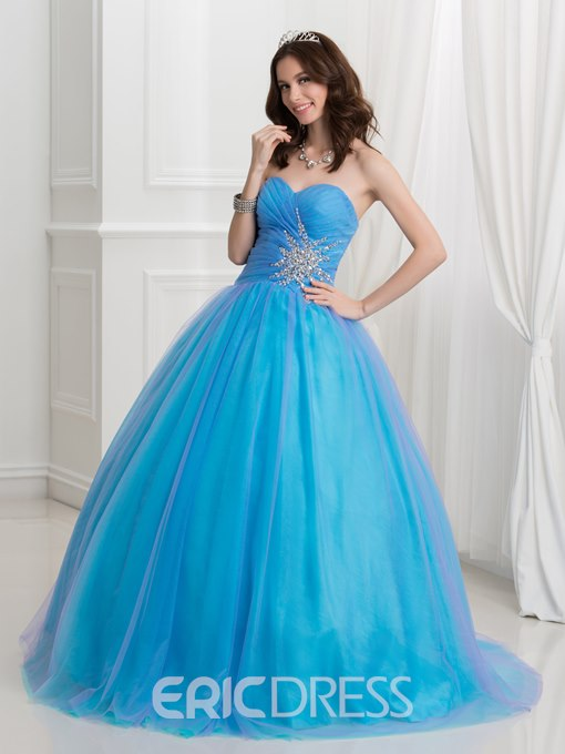 Ericdress Sweetheart Beaded Pleats Ball Gown Quinceanera Dress