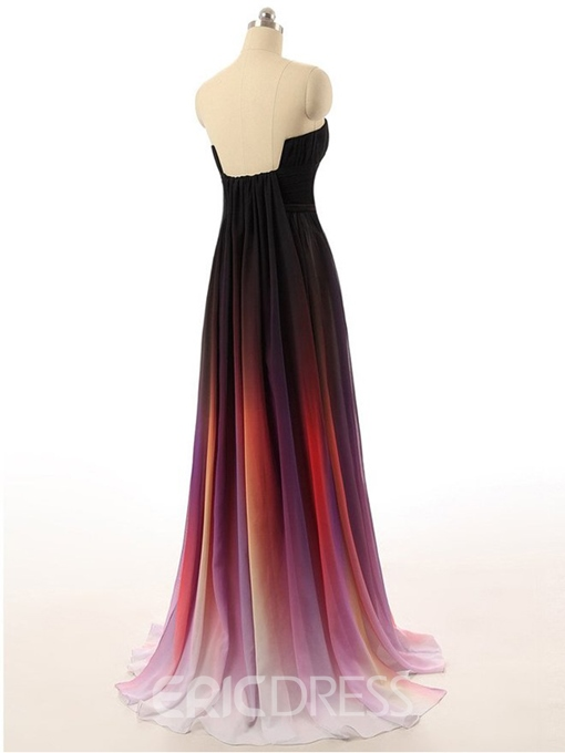 Ericdress Strapless Pleats Fading Color Evening Dress