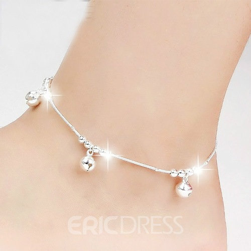 Ericdress Shiny Bell Silver Anklet