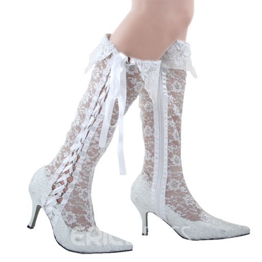 Ericdress Lace Point Toe Knee High Wedding Shoes