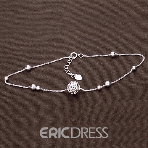 Ericdress Hollow Ball 925 Silver Anklet