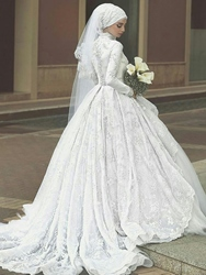 Ericdress Long Sleeves Ball Gown Lace Muslim Wedding Dress