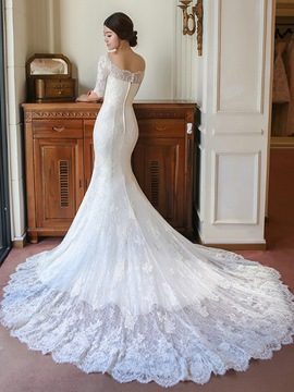 Ericdress Elegant Scoop Half Sleeves Lace Train Mermaid Wedding Dress