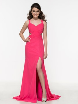 Ericdress Pleats Hollow Split-Front Criss-Cross Straps Prom Dress