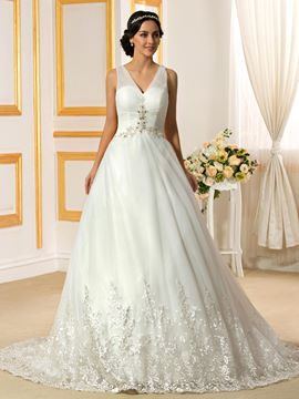 Ericdress Elegant V Neck A Line Wedding Dress