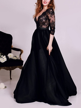 Ericdress Deep V-Neck Lace Sleeves Halloween Prom Dress