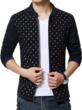 Ericdress Polka Dots Zip Thin Men's Jacket