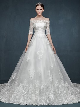 Ericdress Elegant Off The Shoulder Half Sleeves Wedding Dress