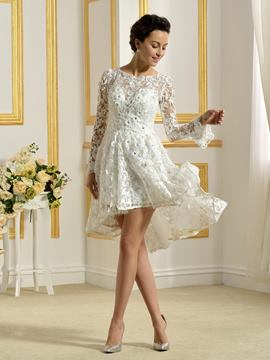 Ericdress Beautiful Bateau Long Sleeves A Line Asymmetry Wedding Dress