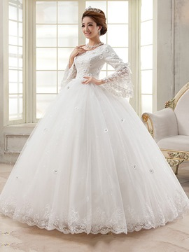 Ericdress Ball Gown Floor-Length Long Sleeves Scoop Hall Wedding Dress