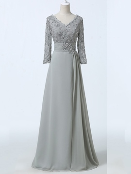 Ericdress Long Sleeves Sequins Lace Mother of the Bride Dress 2019