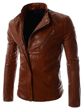 Ericdress Zip Slim PU Men's Jacket