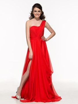 Ericdress One Shoulder Pleats Hollow Split-Front Prom Dress