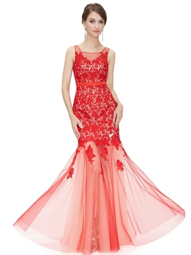 Ericdress Square Neck Appliques Lace Evening Dress