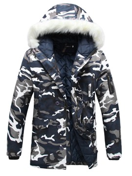 Ericdress Camouflage Fur Collar Thicken Warm Men's Winter Coat