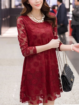 Ericdress Plain Round Neck Long Sleeve Lace Dress