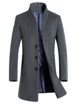 Ericdress Long Stand Collar Slim Gentlemen Men's Wool Coat