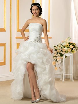 Ericdress Strapless Pick-Ups Asymmetry Beach Wedding Dress