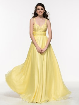 Ericdress Straps Beading Pleats Long Prom Dress