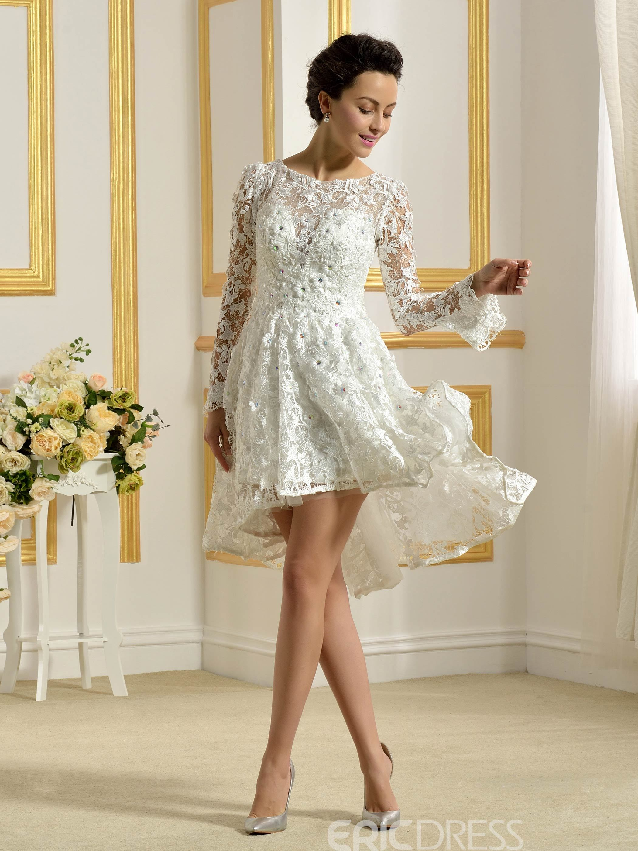 03eeb95ba9fa79 Ericdress Beautiful Bateau Long Sleeves A Line Asymmetry Wedding Dress