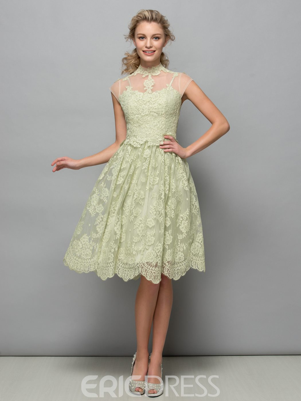 Ericdress Cap Sleeves High Neck Appliques Lace Cocktail Dress