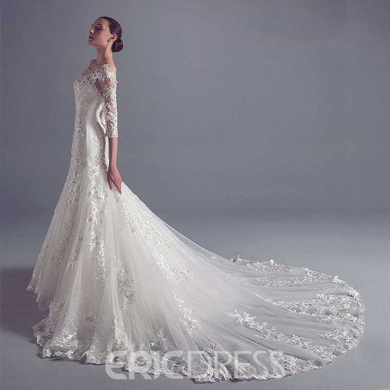 Ericdres Luxury Scoop 3/4 Length Sleeves Mermaid Wedding Dress