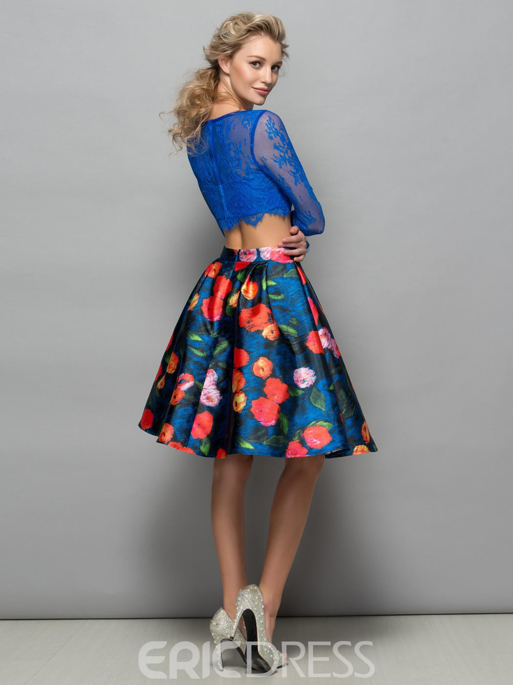 Ericdress Long Sleeves Lace Print Two Piece Cocktail Dress