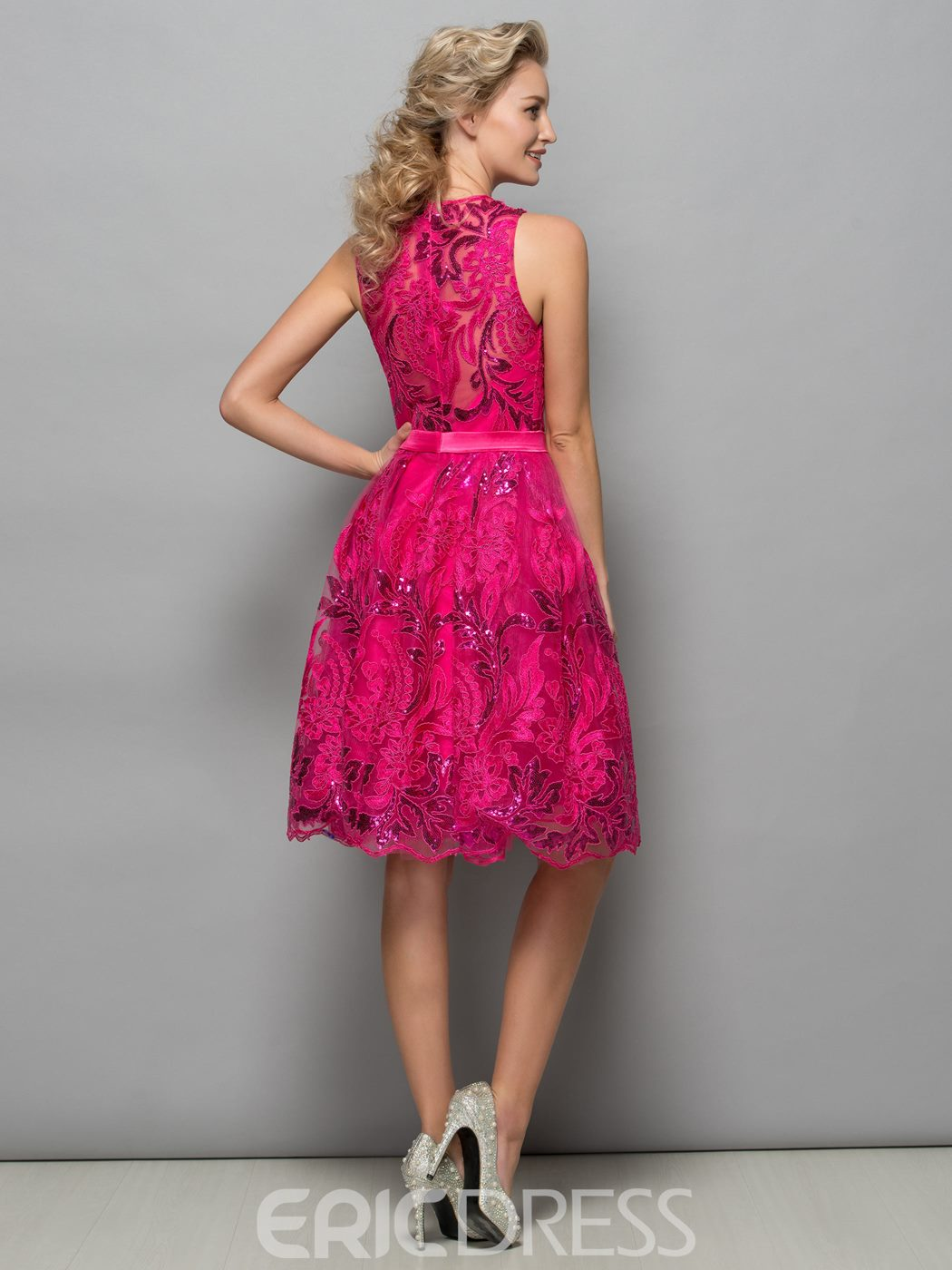 Ericdress A-Line Appliques Sequins Short Cocktail Dress