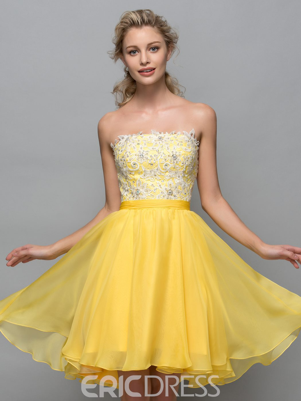 Ericdress Strapless Appliques Sequins Short Cocktail Dress
