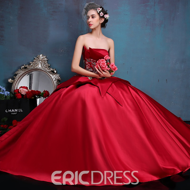 ericdress trägerlosen stickerei appliques tiered lace-up ballkleid kleid