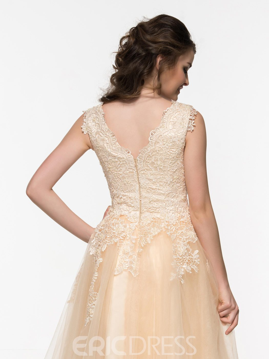 Ericdress V-Neck Appliques Beaded Lace Knee-Length Prom Dress
