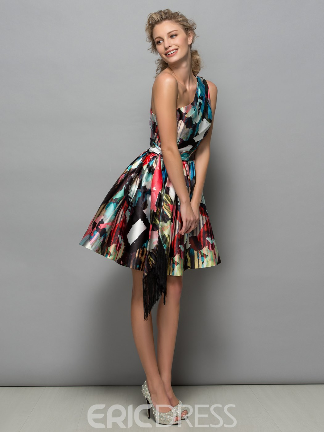 Ericdress One Shoulder Pleats Print Short Cocktail Dress