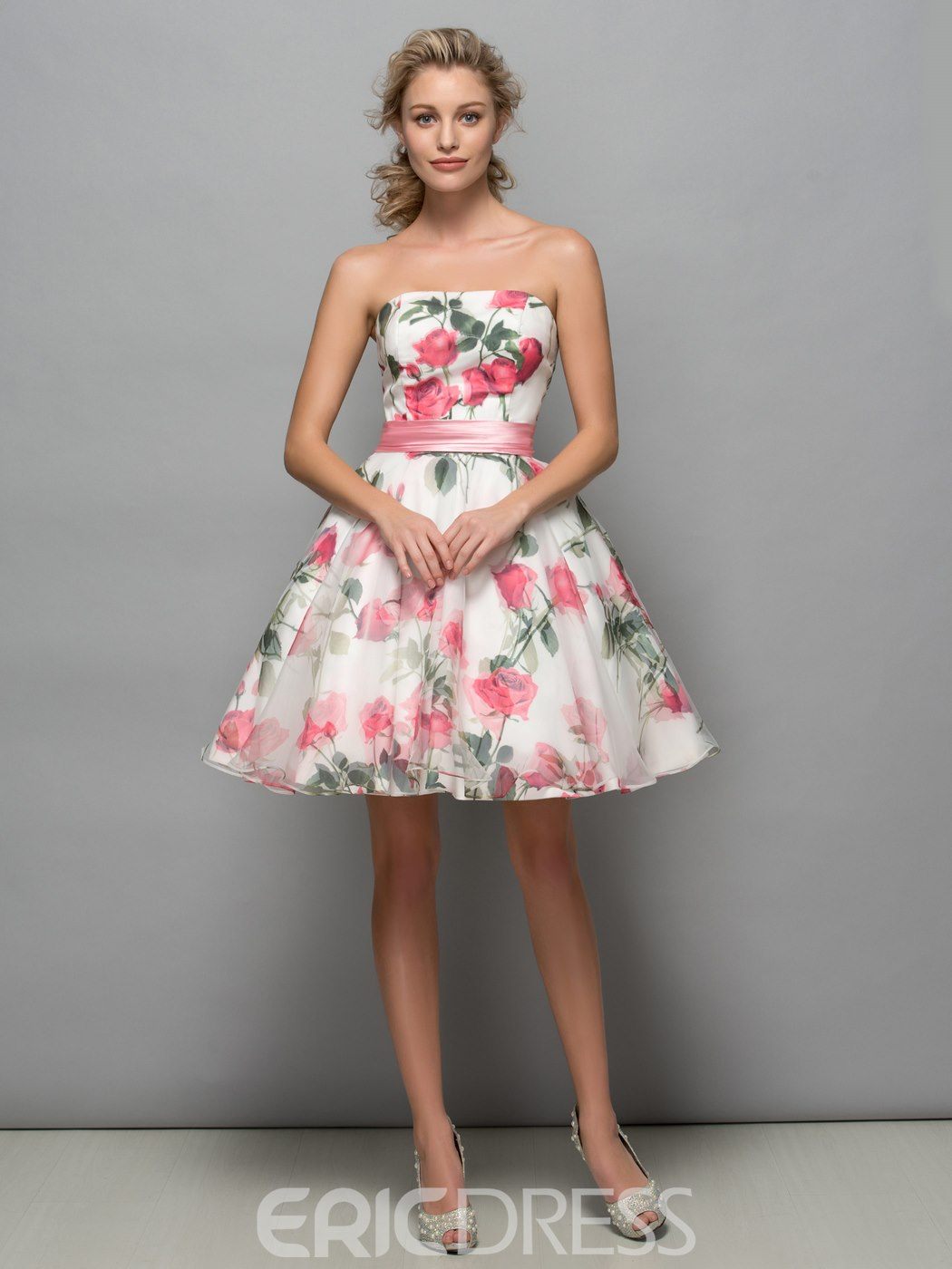 Ericdress Strapless Sashes Print Cocktail Dress