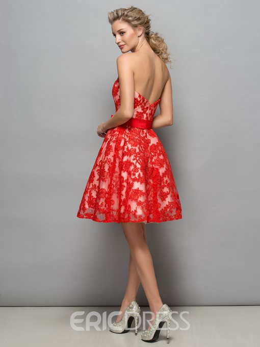 Ericdress A-Line Sweetheart Appliques Beaded Bowknot Short Homecoming Dress