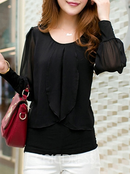 Ericdress Solid Color Loose Long-Sleeve Chiffon Blouse