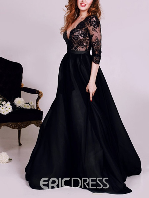 Ericdress Sexy Deep V-Neck Lace Black Prom Dress With 3/4 Sleeve