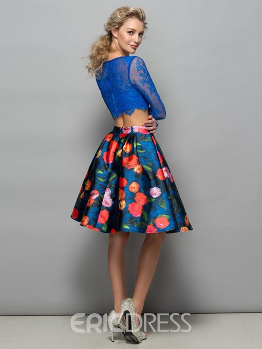 Ericdress Two Pieces Long Sleeves Lace Print Cocktail Dress