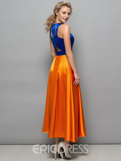 Ericdress Round Neck Hollow Tea-Length Prom Dress