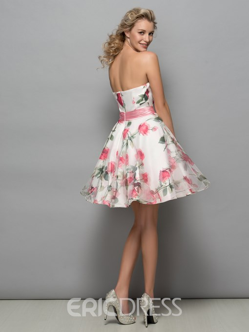 Ericdress Strapless Belt Print Cocktail Dress