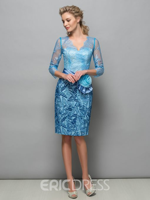 Ericdress Sheath 3/4 Sleeves Sequins Flower Lace Formal Cocktail Dress