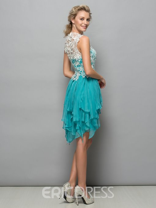 Ericdress Tiered Ruffles Lace Short Cocktail Dress