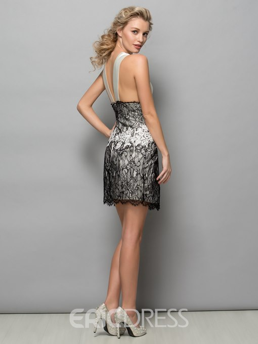 Ericdress Sheath Halter Hollow Lace Short Cocktail Dress