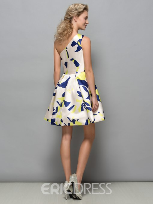Ericdress A-Line One Shoulder Print Cocktail Dress