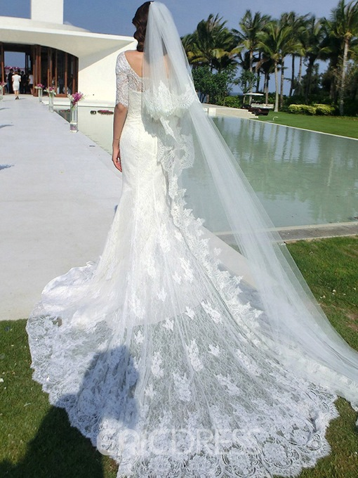 Ericdress Elegant Half Sleeves Lace Train Mermaid Wedding Dress