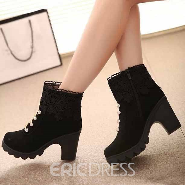 Ericdress Fashion Lace Patchwork Ankle Boots