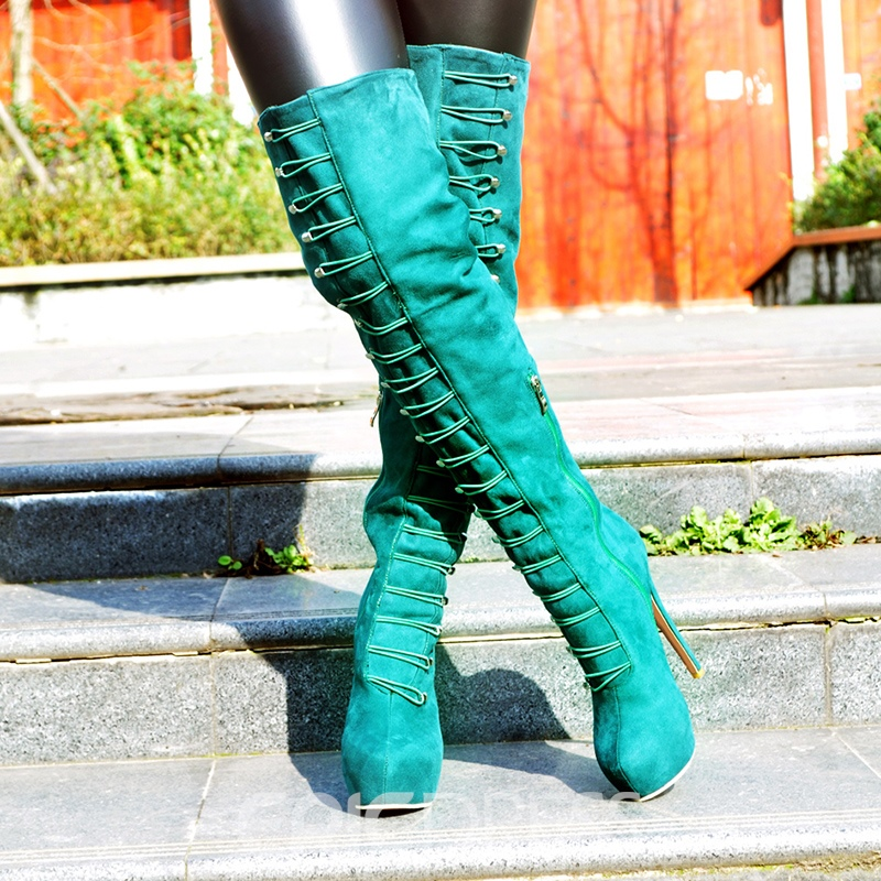 Ericdress Special Green Knee High Boots