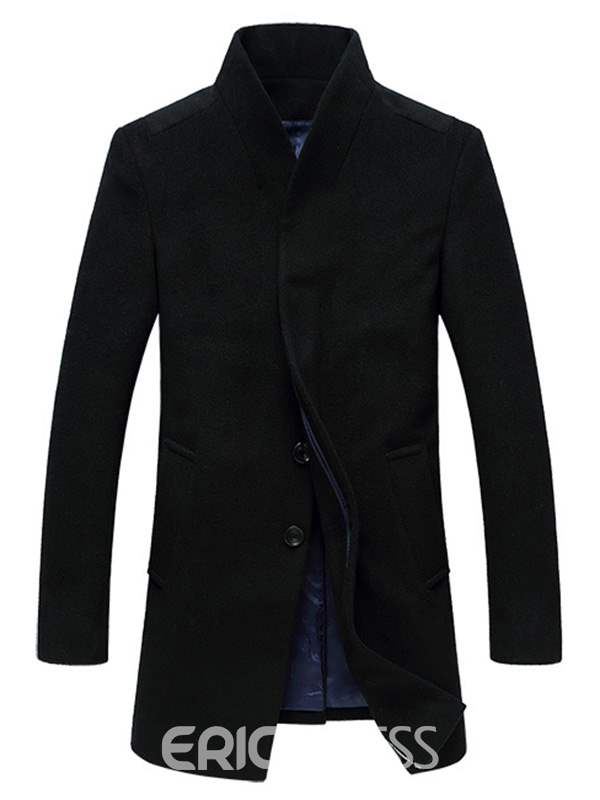 Ericdress Long Stand Collar Slim Gentlemen Wear Woolen Coat