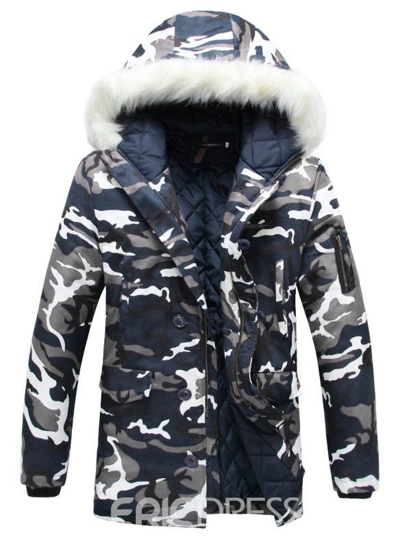 Ericdress Camouflage Faux Fur Collar Thicken Warm Men's Winter Coat