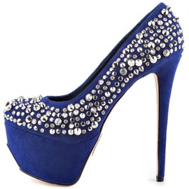 Ericdress Sexy Blue High Heel Pumps with Rivets