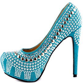 Ericdress Blue Rivets Stiletto Heel Pumps